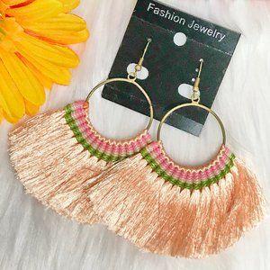 Boho Earrings Fan Tassel Hoop Drop Dangles Peach